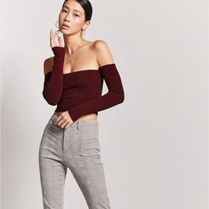 Burgundy Ribbed Long Sleeve Off the Shoulder Top